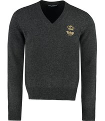 dolce & gabbana virgin wool sweater with embroidery
