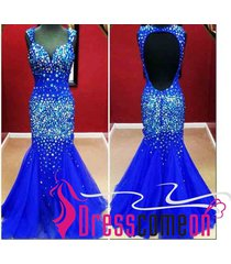 custom mermaid royal blue with crystals open back prom evening party dresses n33