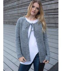 sweter wiązany przy szyi szary