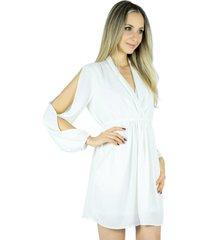 vestido liage curto liso decote v manga comprida recorte drapeado chiffon off white / pérola / marfim