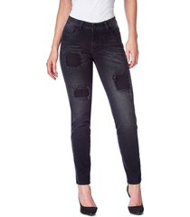jean skinny parches negro