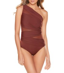 women's miraclesuit jena one-shoulder one-piece swimsuit, size 16 - burgundy