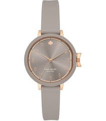kate spade new york park row silicone strap watch, 34mm in grey/rose gold at nordstrom