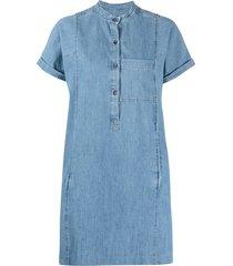a.p.c. denim short-sleeved dress - blue