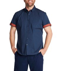 men's johnny bigg marling patterned short sleeve stretch button-down shirt, size 4x-large - red
