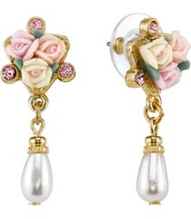 2028 gold-tone crystal ivory and pink porcelain rose simulated pearl drop earrings