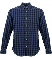 barena venezia checked long sleeve shirt - navy & black cau8362288