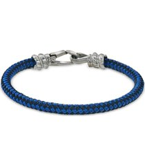 esquire men's jewelry blue and black woven bracelet in stainless steel, created for macy's