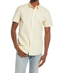 bp. slim fit dot stretch cotton short sleeve button-up shirt, size xx-large in ivory shad - brown sketch dots at nordstrom