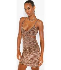 gebreide space dye mini jurk met uitsnijding, stone