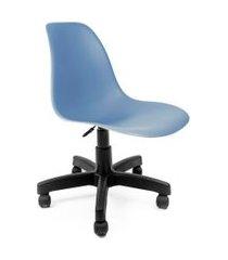 cadeira de escritório secretária eames preta e azul