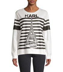karl lagerfeld paris women's striped cotton-blend sweatshirt - white - size m