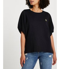 river island womens black short sleeve woven batwing top