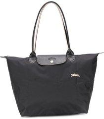 longchamp large le pliage shoulder bag - black