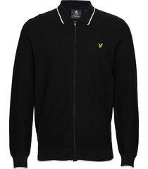 knitted tipped zip through gebreide trui cardigan zwart lyle & scott