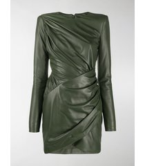 alexandre vauthier ruched leather dress