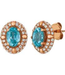 le vian blue zircon (2 5/8 ct.t.w.) and nude diamonds (1 ct.t.w.) earrings set in 14k rose gold