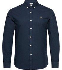 brewer long sleeved slim fit shirt overhemd casual blauw farah