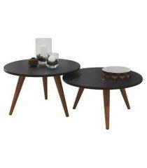 mesa de centro para sala redonda retrô preta - kit com 2