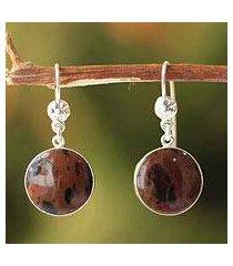 mahogany obsidian dangle earrings, 'inca moons' (peru)