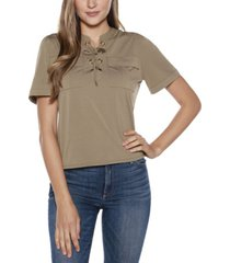 belldini black label lace up top with pockets