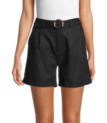 saks fifth avenue women's tortoise belted shorts - black - size xs