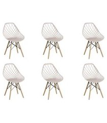 conjunto 06 cadeiras cloe base madeira  nude