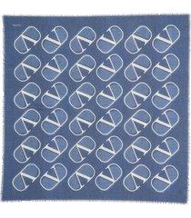 women's valentino garavani v logo print shawl
