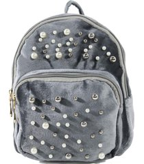mochila terciopelo perlas gris mailea
