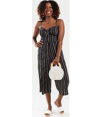 chloe striped front knot jumpsuit - black