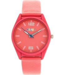 crayo unisex dynamic pink leatherette strap watch 36mm