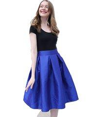 blue pleated ruffle midi skirt lady taffeta elastic high waist midi pleat skirt
