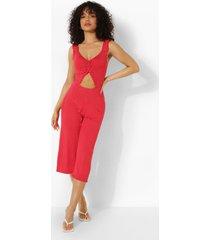 petite jumpsuit met uitsnijding en stippen, red