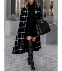 black plaid belt design tartan long sleeves coat