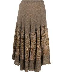 a.n.g.e.l.o. vintage cult 1980s crochet panel knitted skirt - neutrals