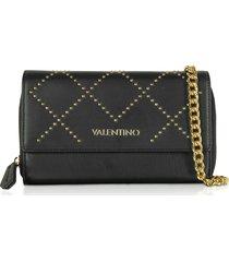 valentino by mario valentino designer wallets, mandolino black studded eco-leather wallet on a chain
