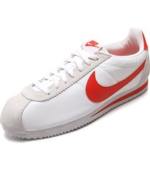 tenis running blanco-rojo nike classic cortez nylon