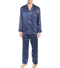 men's majestic international sapphire silk pajama set, size xx-large - blue