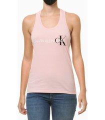 blusa regata feminina nadador rosa claro calvin klein jeans - pp