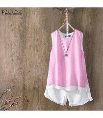 zanzea mujeres sin mangas summer tank tops casual cami blusa camisa camisole plus -rosado