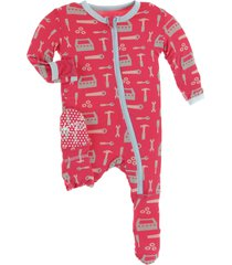 infant boy's kickee pants print jersey zip footie