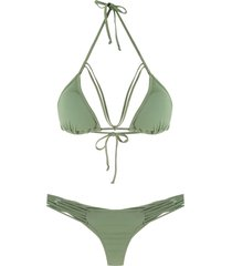 amir slama straps triangle bikini set - green