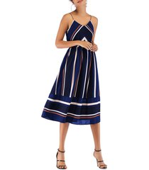 elastic waist stripes cami midi dress