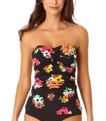 anne cole island bloom twist bandeau tankini top women's swimsuit