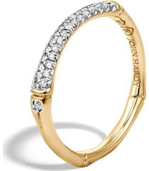 women's john hardy bamboo gold diamond pave slim band ring