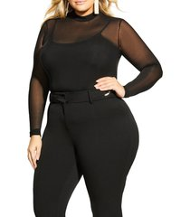 city chic provocative sheer long sleeve bodysuit, size x-small in black at nordstrom