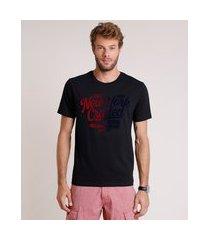 "camiseta masculina comfort new york"" manga curta gola careca preta"""