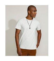 camiseta masculina manga curta básica com elastano gola careca off white
