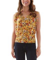 bcx juniors' floral-print smocked-hem top