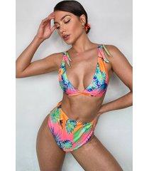 neon tropical tie side bikini, coral